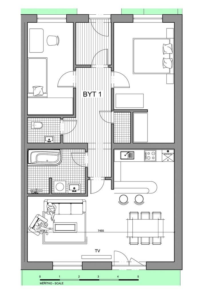 Půdorys apartmánu 1