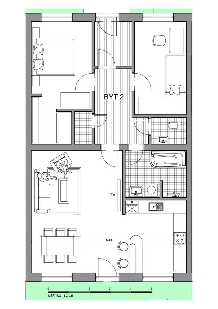 Půdorys apartmánu 2