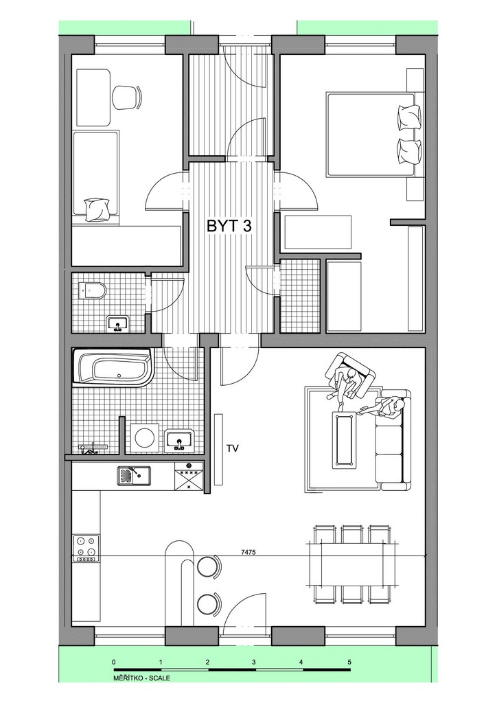 Půdorys apartmánu 3